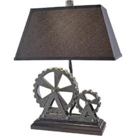 OLD INDUSTRIAL unusual industrial themed table lamp with shade