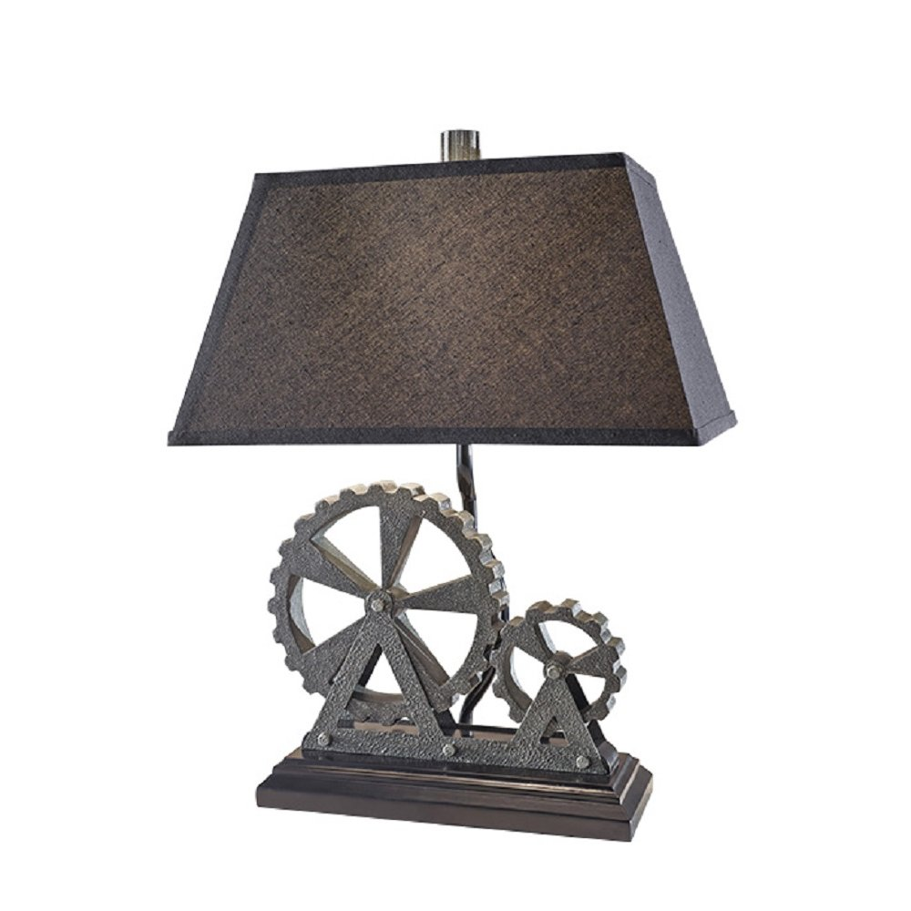Black And Grey Industrial Themed Table Lamp With Black
