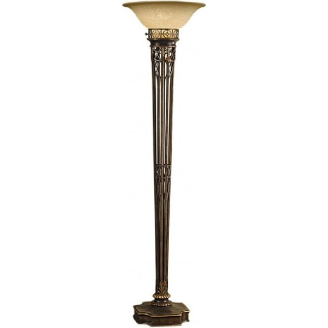 Character standard lamp in rich dark gold uplighter scavo glass shade opera aged brass uplighter floor lamp with scavo glass shade aloadofball Image collections