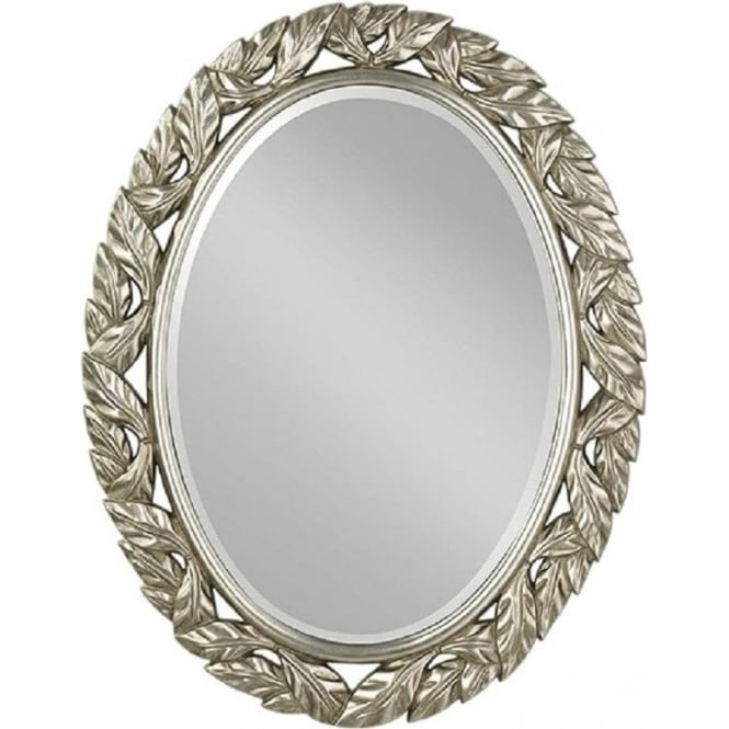 Large Oval Bevelled Edge Wall Mirror with Antique Silver Leaf Frame ebe20b4630d