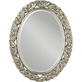 OVAL LEAVES traditional oval glass mirror with antique silver frame
