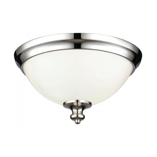 Flush fitting ceiling light opal glass dome shade nickel surround parkman circular flush fitting low ceiling light nickel with opal glass aloadofball Images