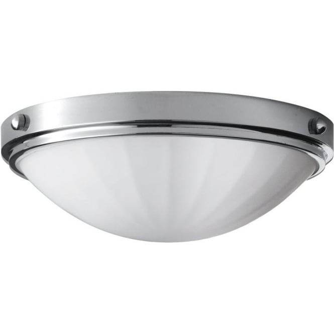 Ip44 round flush mounted bathroom ceiling light chrome with opal shade for Ceiling mounted bathroom lights