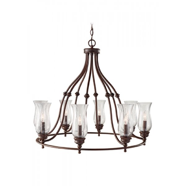 Farmhouse Entryway Chandelier: Country Style Hoop Chandelier In Heritage Bronze With Oil