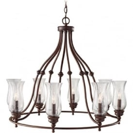 PICKERING LANE large bronze farmhouse style chandelier - 8 light