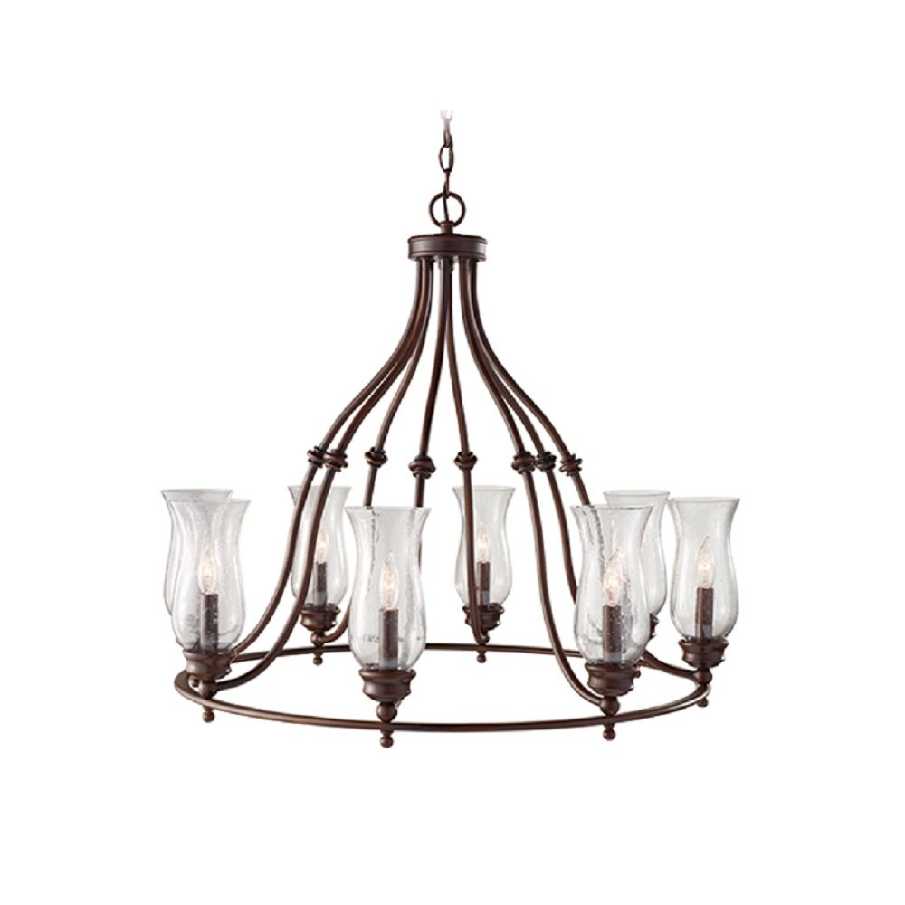 Country Style Hoop Chandelier in Heritage Bronze with Oil