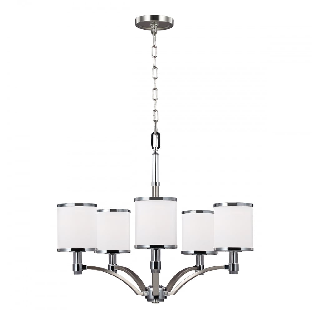 Home shop by era edwardian lighting monaghan lighting monaghan - Prospect Park Modern 5 Light Chandelier In Two Tone Satin Nickel And Chrome