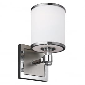 PROSPECT PARK modern nickel and chrome single wall light with white opal glass shade