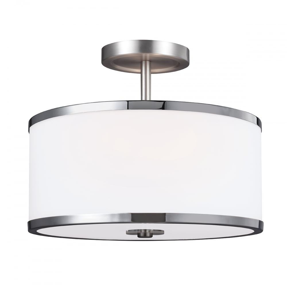 semi flush ceiling lights opal glass drum shade ceiling light on dual mount nickel 10638