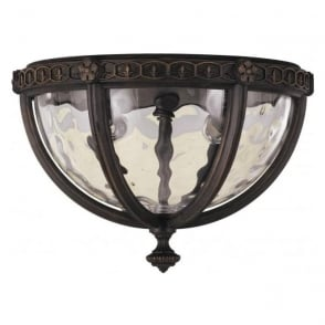 flush fitting porch ceiling light fitting in weathered bronze