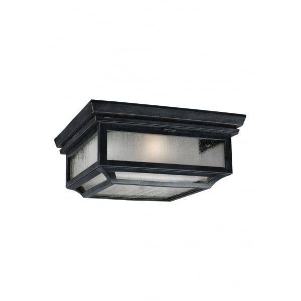Murray Feiss Shepherd: IP44 Flush Outdoor Ceiling Light With Leaded Glass Appearance