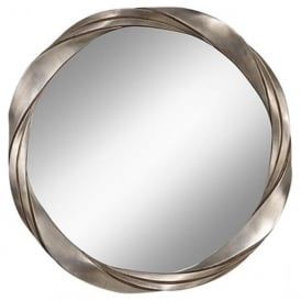 SILVER TWIST circular wall mirror with silver leaf frame