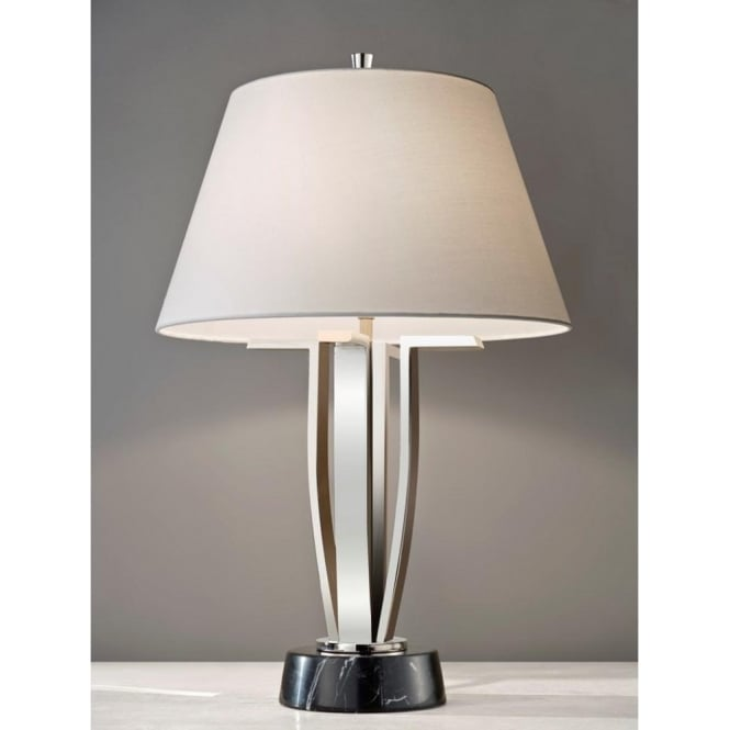 Art deco table lamp in polished nickel black marble base whtie shade silvershore modern art deco style table lamp with shade aloadofball Image collections
