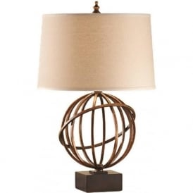 SPENCER bronze open globe shape table lamp with shade