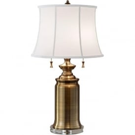 STATEROOM antique brass table lamp with shade