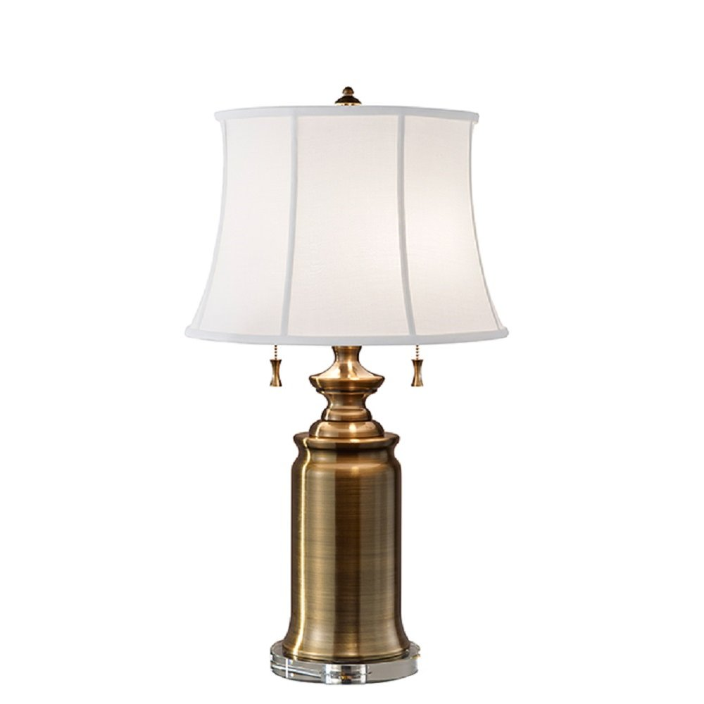 Antique brass table lamp in classic styling with white for Types of lamp shades