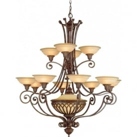 STIRLING CASTLE large Gothic style bronze chandelier - 12 light