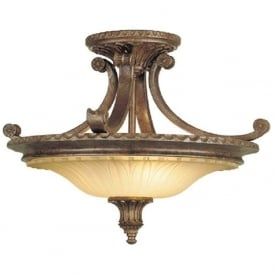 STIRLING CASTLE traditional bronze semi-flush uplighter ceiling light
