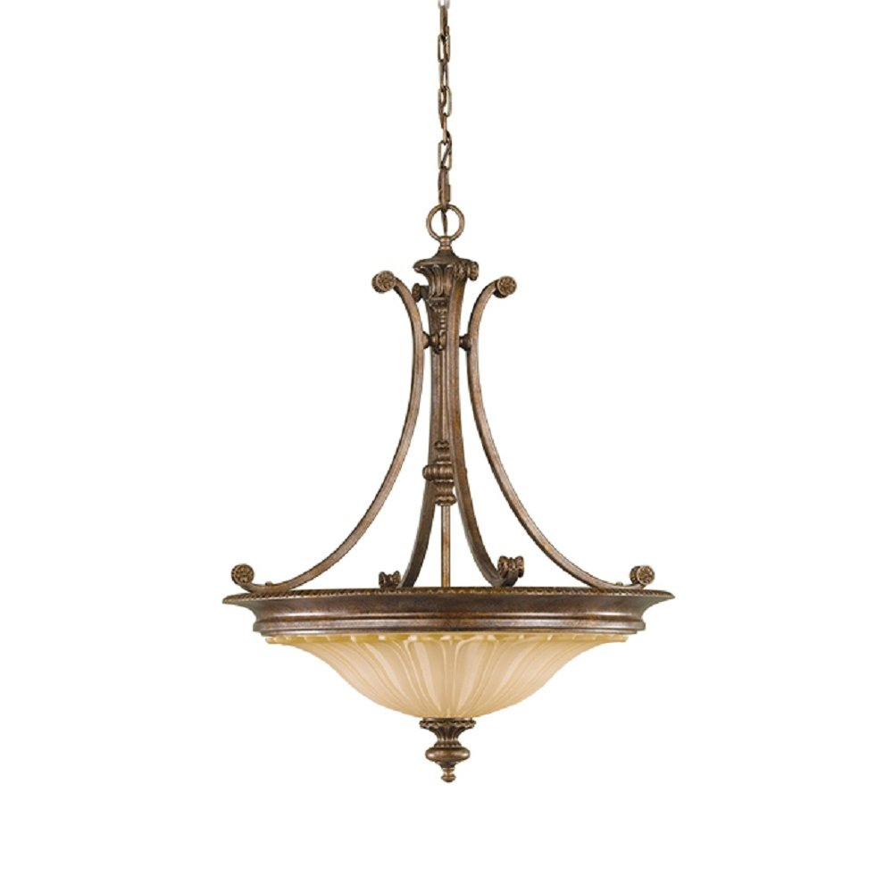 Tradtiional Inverted Ceiling Pendant Light Bronze Frame