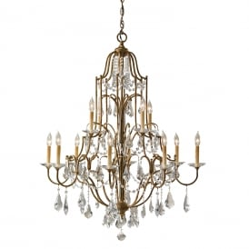 VALENTINA large 12 light multi-tier bronze chandelier dressed with crystal