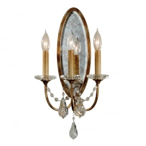Manhattan American Collection VALENTINA traditional 3 light Regency wall sconce dressed with crystal
