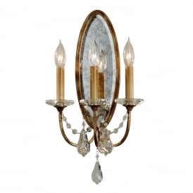 VALENTINA traditional 3 light Regency wall sconce dressed with crystal