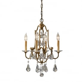 VALENTINA traditional 4 light dual mount bronze chandelier dressed with crystal