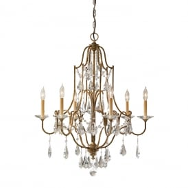 VALENTINA traditional 6 light bronze chandelier dressed with crystal