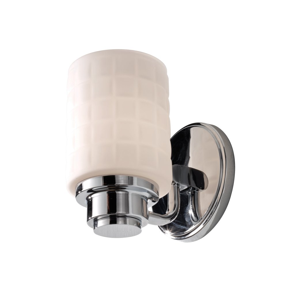 Deco Style Wall Lights : Bathroom Wall Light in Chrome with Mosaic Pattern Opal Glass Shade