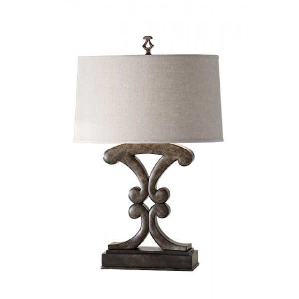 wood effect table lamp in weathered black finish with linen shade. Black Bedroom Furniture Sets. Home Design Ideas