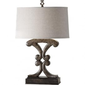WESTWOOD weathered black wood effect table lamp with shade