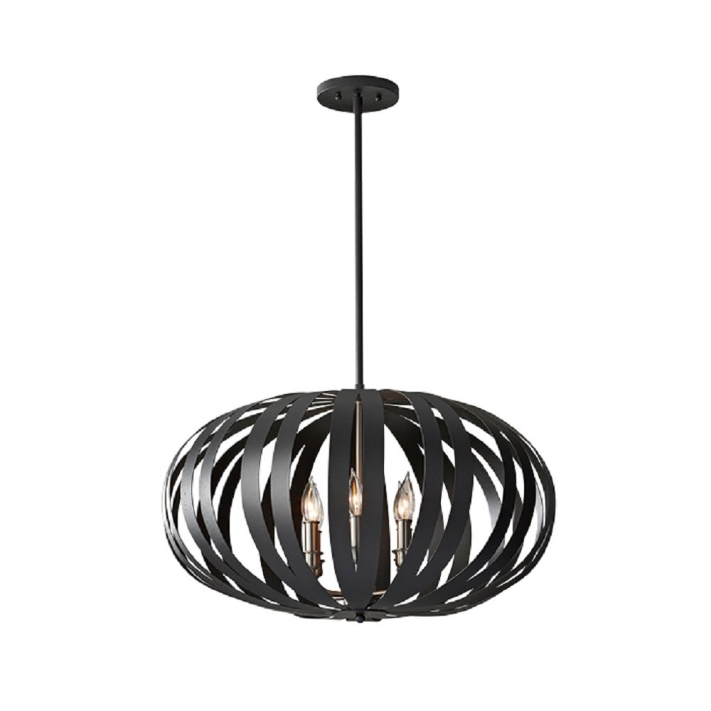 Large Modern Ceiling Pendant Light In Textured Black Cage