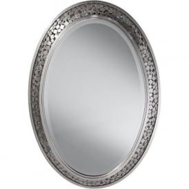 ZARA large oval mirror with mosaic brushed steel frame