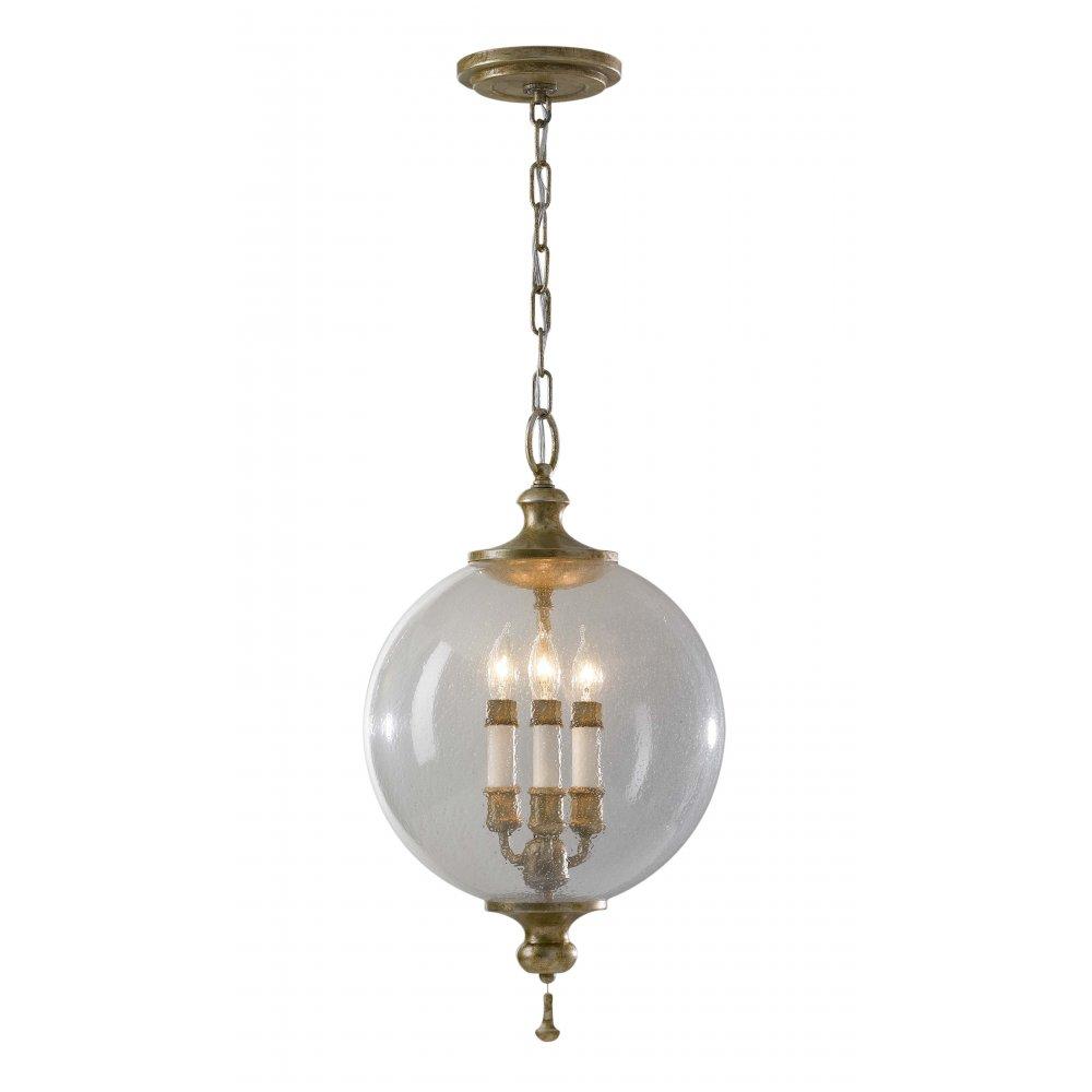 Traditional Ceiling Pendant Light, Globe Shape Silver