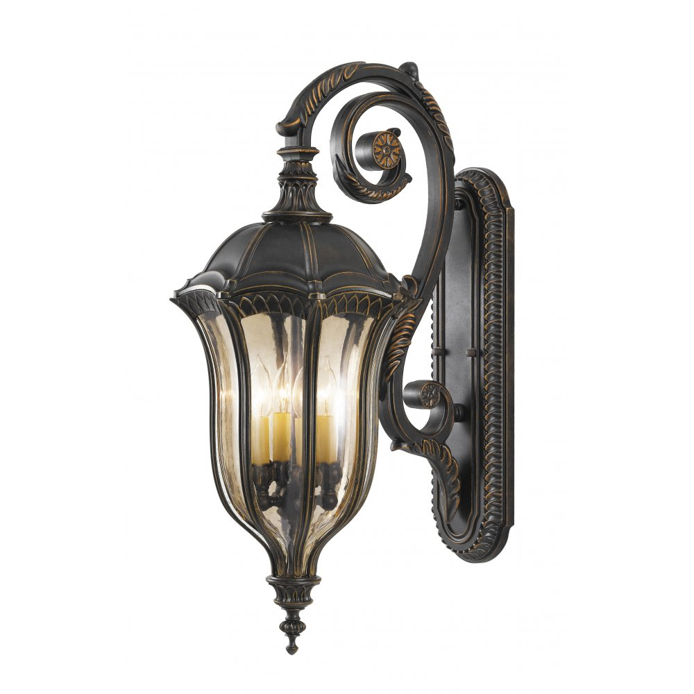 Large Garden Wall Light, Traditional Walnut Brown