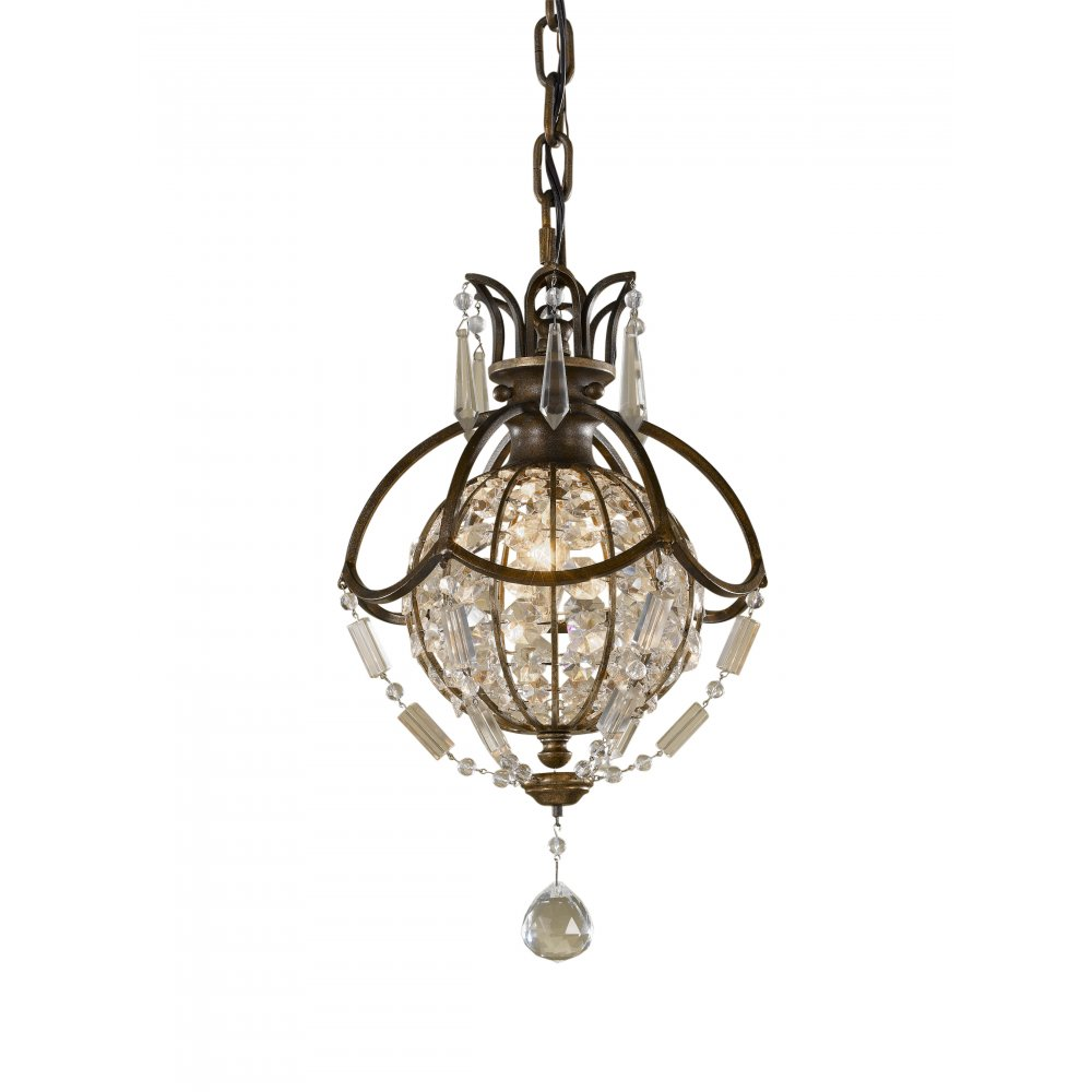 Long Pendant Lights: Small Globe Chandelier, Oxidised Bronze With Antique