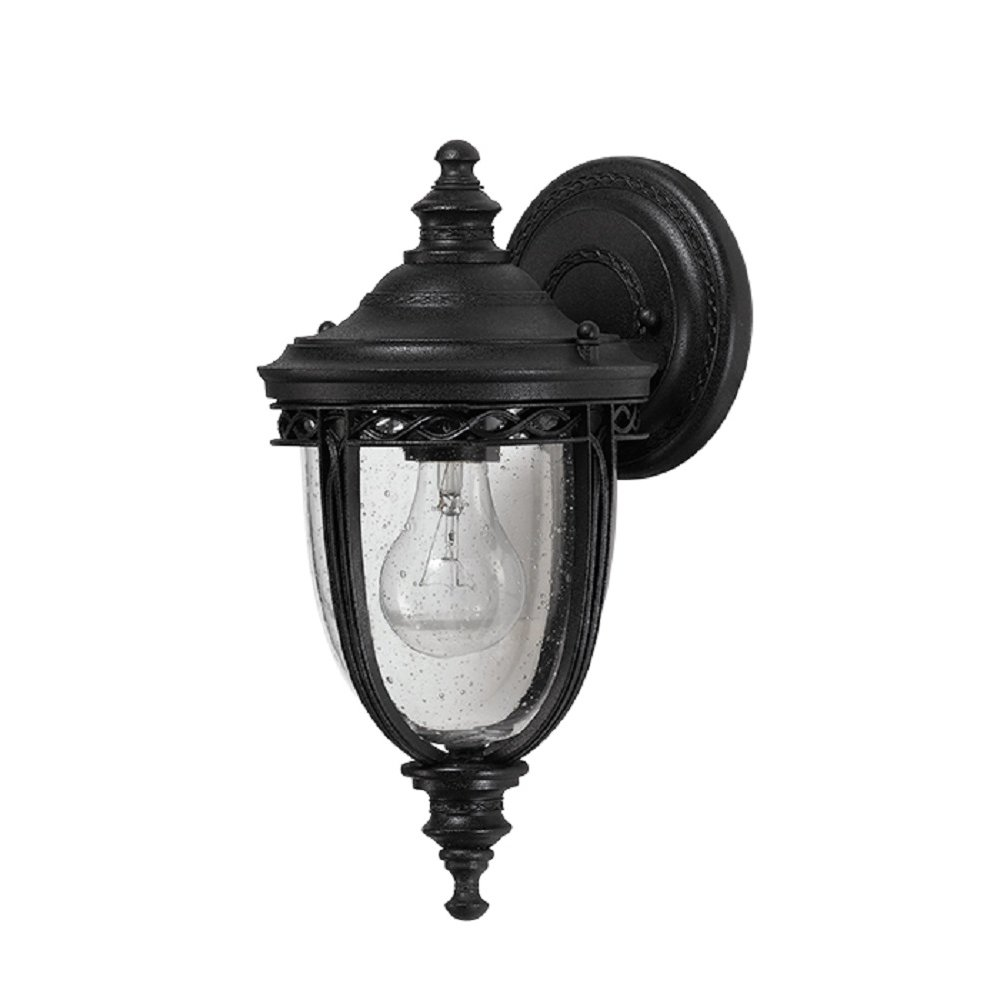 Small Black English Bridle Garden Wall Lantern in Old World Styling