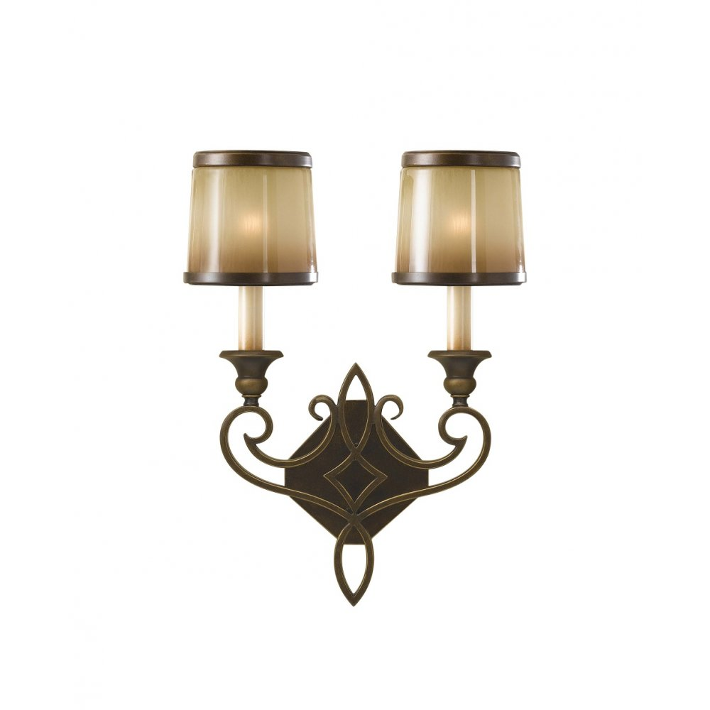 Traditional Decorative Twin Bronze Wall Light with Amber Glass Shades