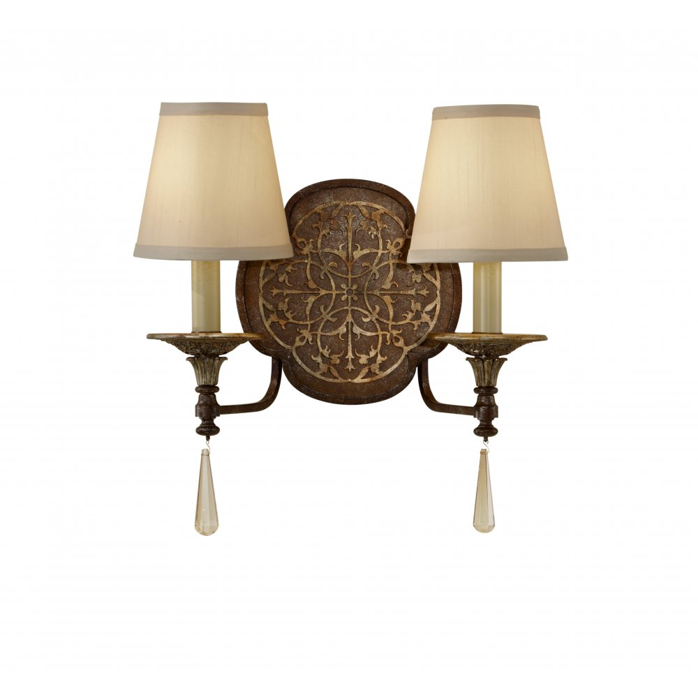 Twin Wall Light, Decorative Bronze Fretwork, Beige Candle Shades