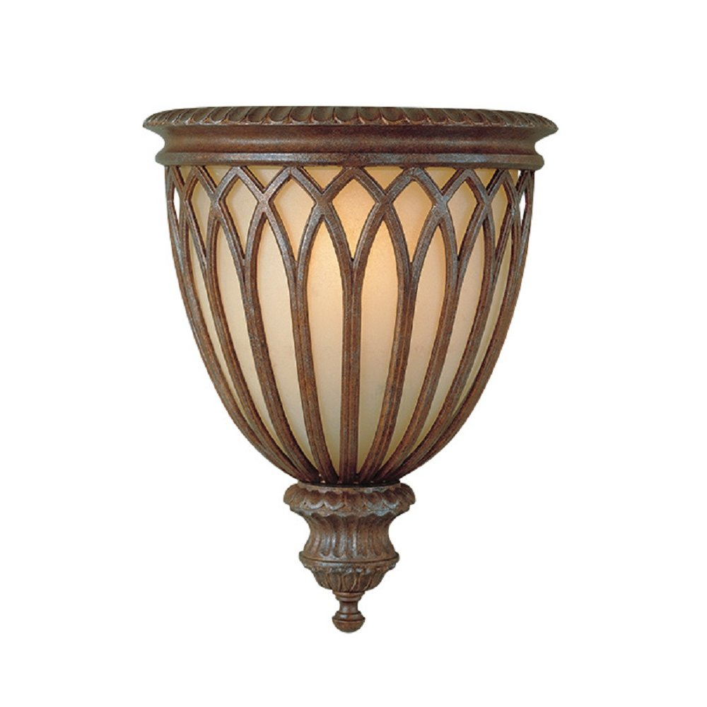 Gothic wall sconce in decorative bronze cage design over amber glass - Decorative wall scones ...