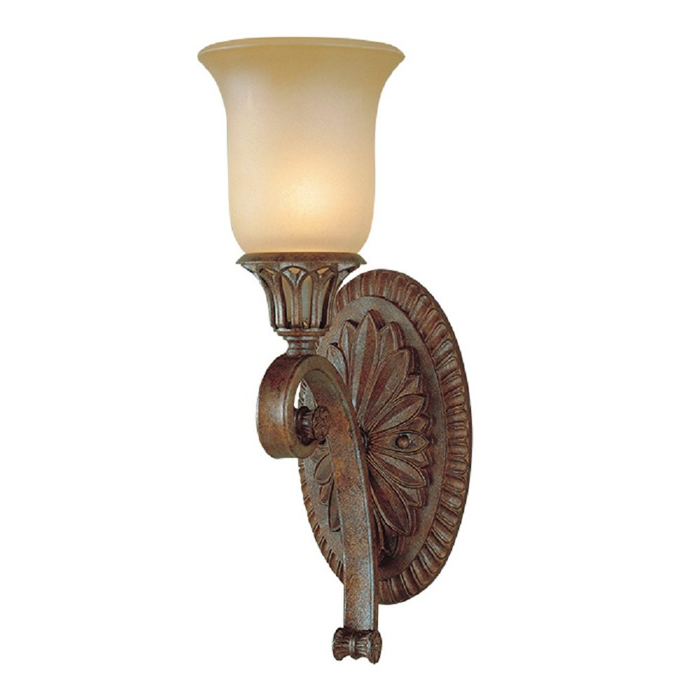 Traditional Bronze Wall Lights : Single Wall Light with Gothic Bronze Detailing and Amber Glass Shade