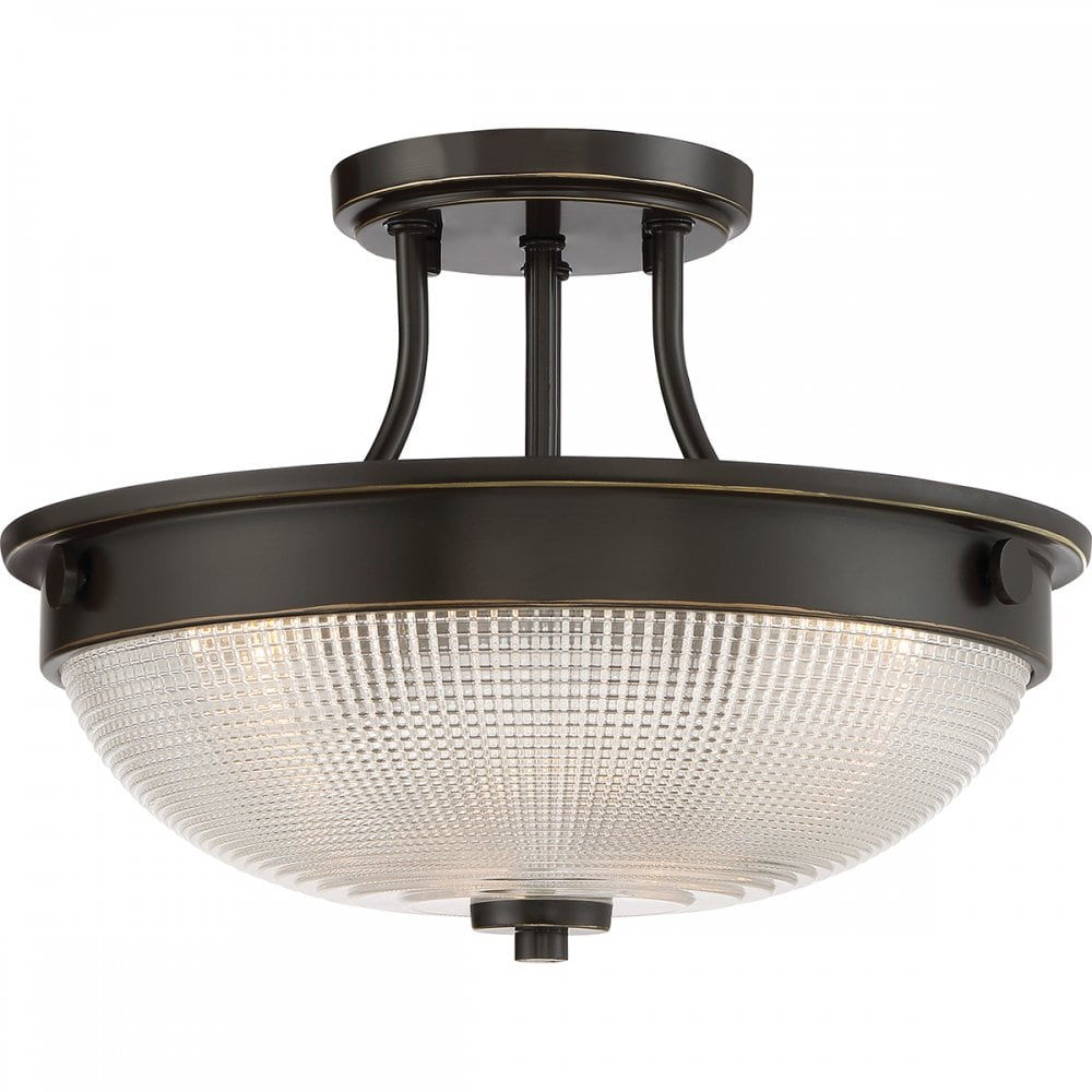 Mantle semi flush fit ceiing light with prismatic glass shade palladian bronze fitting
