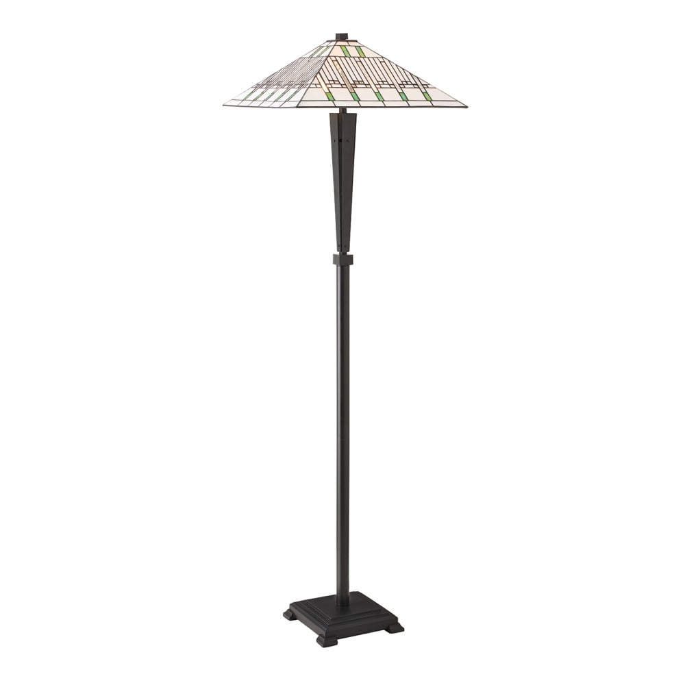 Art Deco Style Floor Lamp With Dark Bronze Base And White Tiffany Shade