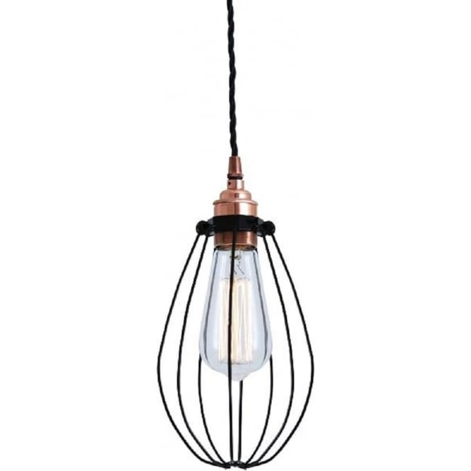 Industrial Ceiling Pendant Light Black Wire Cage And