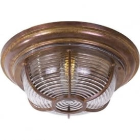 ADUR nautical style indoor or outdoor flush fitting low ceiling or wall light - antique brass