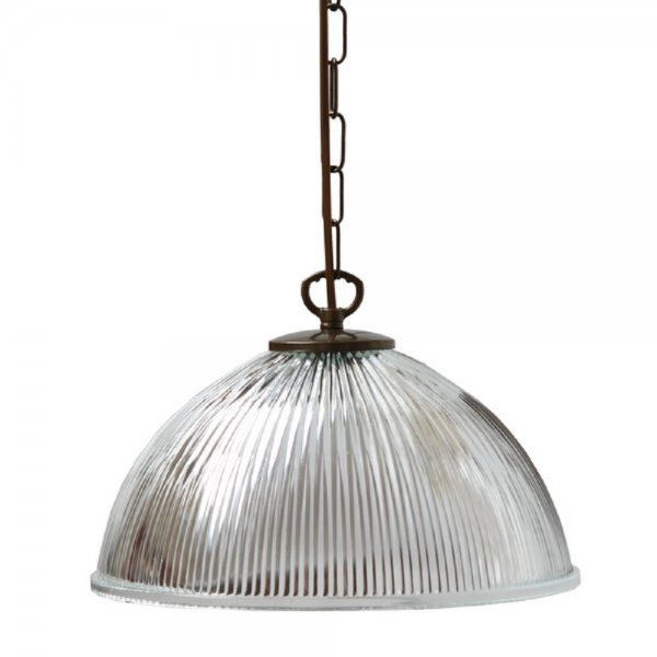 hanging ceiling pendant light with ribbed glass shade on