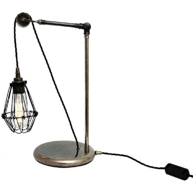 Pulley Desk Light In Antique Silver With Adjustable Wire Cage Shade
