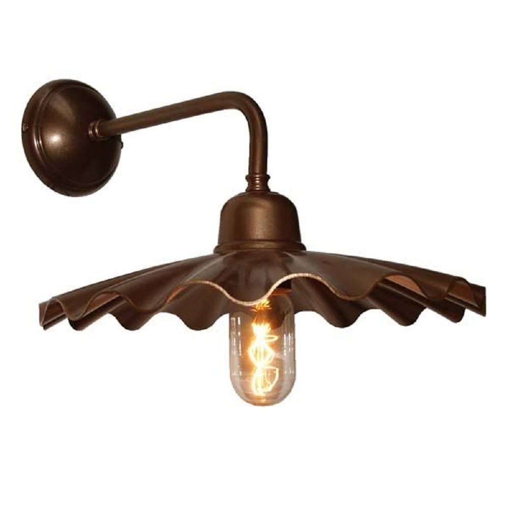 Metal Industrial Wall Lights : Bronze Rustic Industrial Style Wall Light with Fluted Metal Shade