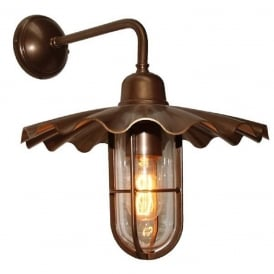 ARDLE fluted bronze metal wall light with clear glass caged shade, IP54