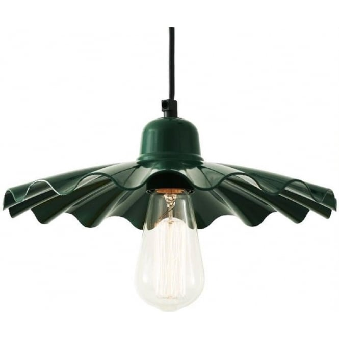 Ceiling Pendant Light With Fluted Green Metal Shade
